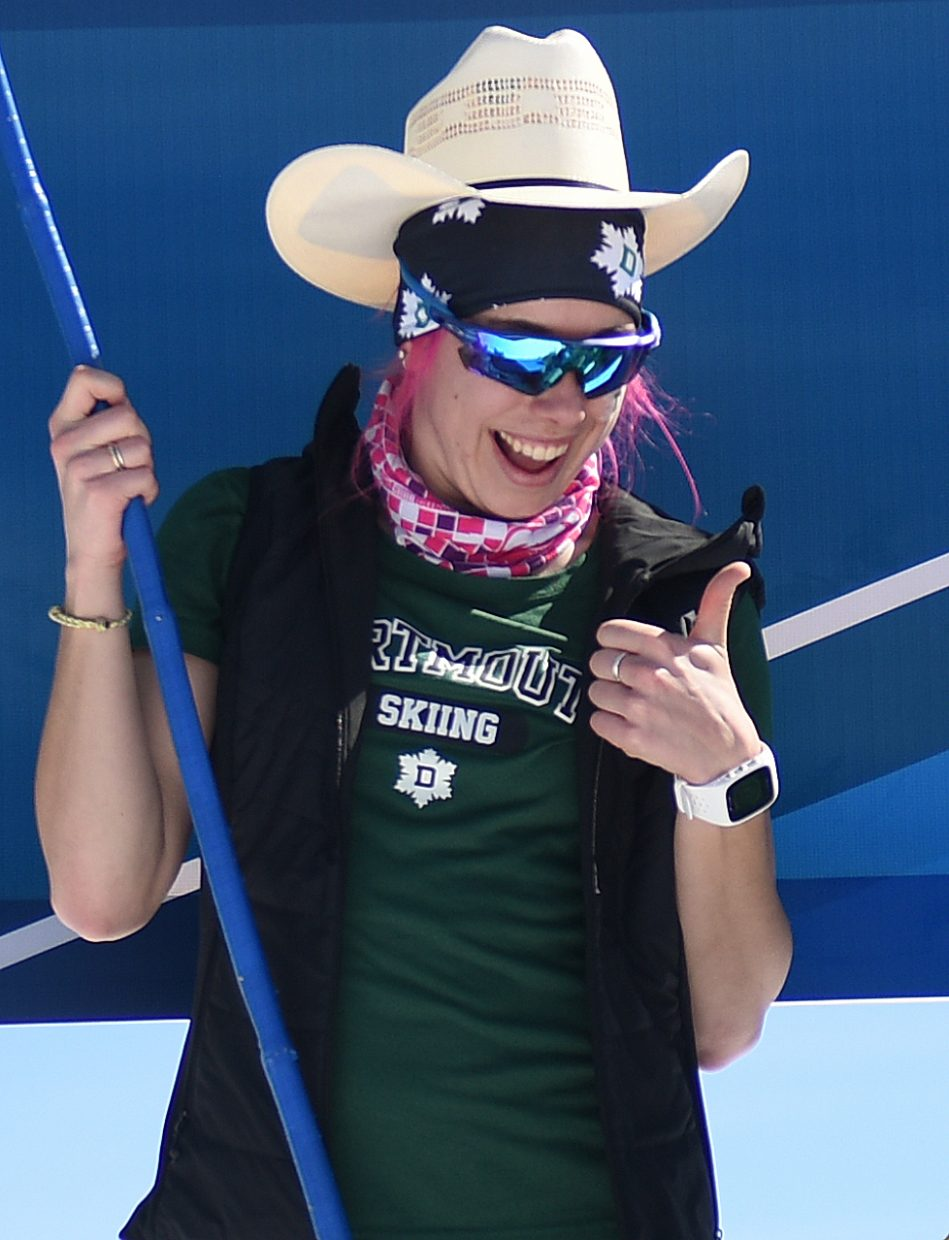 Dartmouth's Katharine Ogden looks down from the top of the podium after winning Friday's women's 5K Classic ski race during the NCAA Ski Championships in Steamboat Springs.