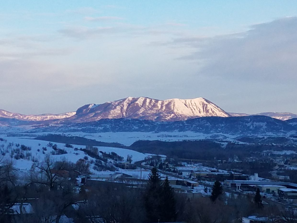 Sleeping Giant at sunrise from Fairview neighborhood in Steamboat Springs.