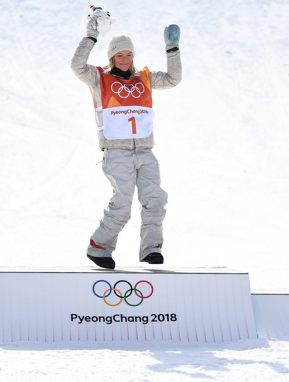 Snowboarder Jamie Anderson danced as she stood on the podium after winning her second career Olympic gold medal in women's slopestyle. How do you take a still photo of someone dancing? There's no perfect way, but I liked that this one conveys at least a little of the movement.