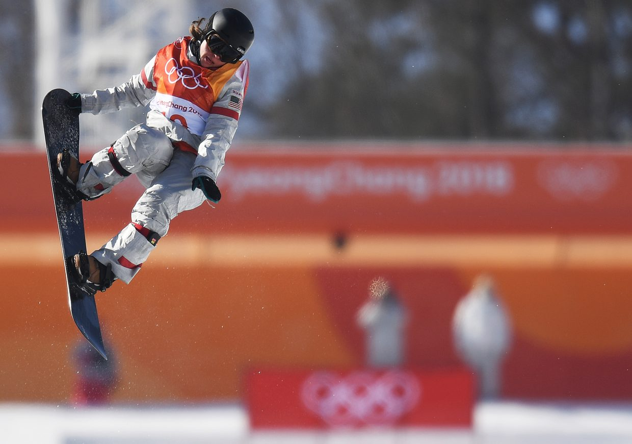 Arielle Gold spins through a frontside 900 during her bronze-medal winning run at the 2018 Winter Olympics.