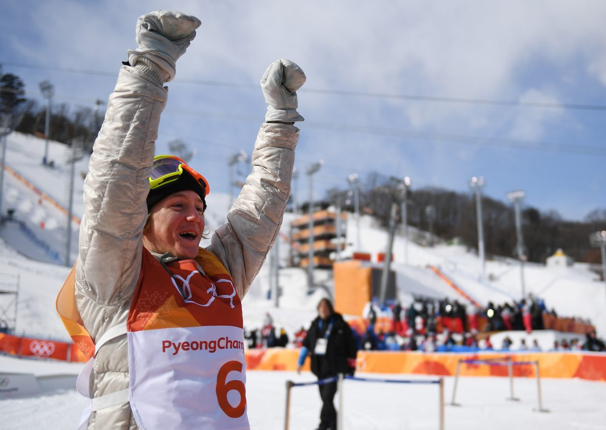 Silverthorne's Red Gerard throws up his arms after winning gold in snowboard slopestyle. I had a great spot to shoot right in the front of the photo section. That paid off when Gerard decided to celebrate (almost) directly in front of me.