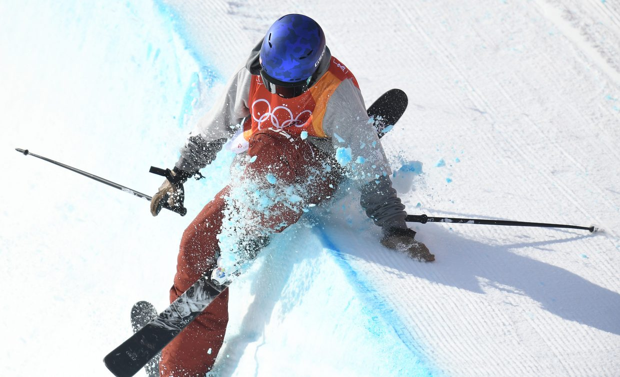Torin Yater-Wallace hits hard on the deck of the halfpipe during his final run of the men's ski halfpipe competition. Yater-Wallace has struggled with injuries throughout his career. It's not hard to see why his sport can be so dangerous.