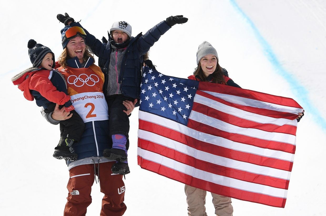 David Wise celebrates after winning a gold medal in men's ski halfpipe. There are a lot of ways to do the