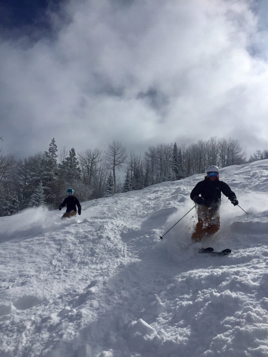 Skiers enjoy the fresh powder after snow passed through Steamboat Springs.