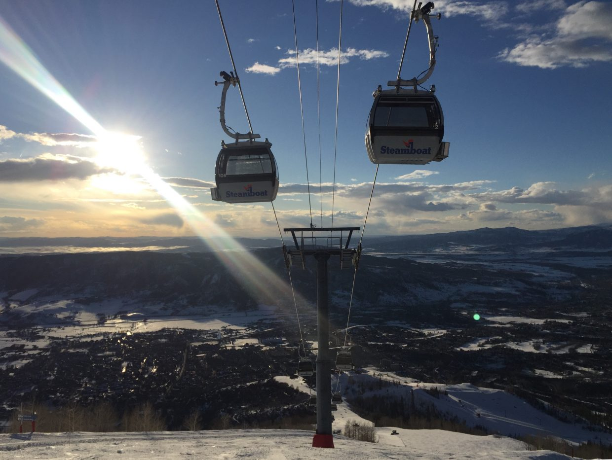 A shot of the gondola at the Steamboat Ski Area