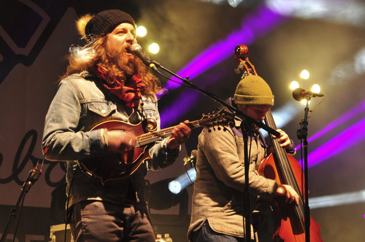 Greensky Bluegrass' Paul Hoffman, on mandlin, and Mike Devol, on upright bass, play to a packed crowd at WinterWonderGrass in Steamboat Springs on Saturday.