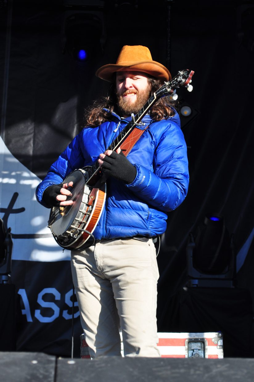 Billy Failing solos with Billy Strings on the Main Stage at WinterWonderGrass in the Upper Knoll Lot in Steamboat Springs on Sunday.
