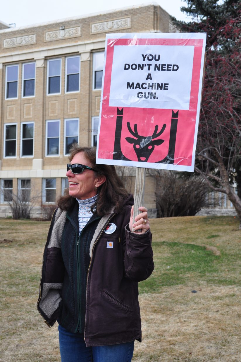 Lauris Kuelthau of Steamboat, attended the March for Our Lives demonstration on Saturday on the courthouse lawn. The demonstration wrapped up with speakers.