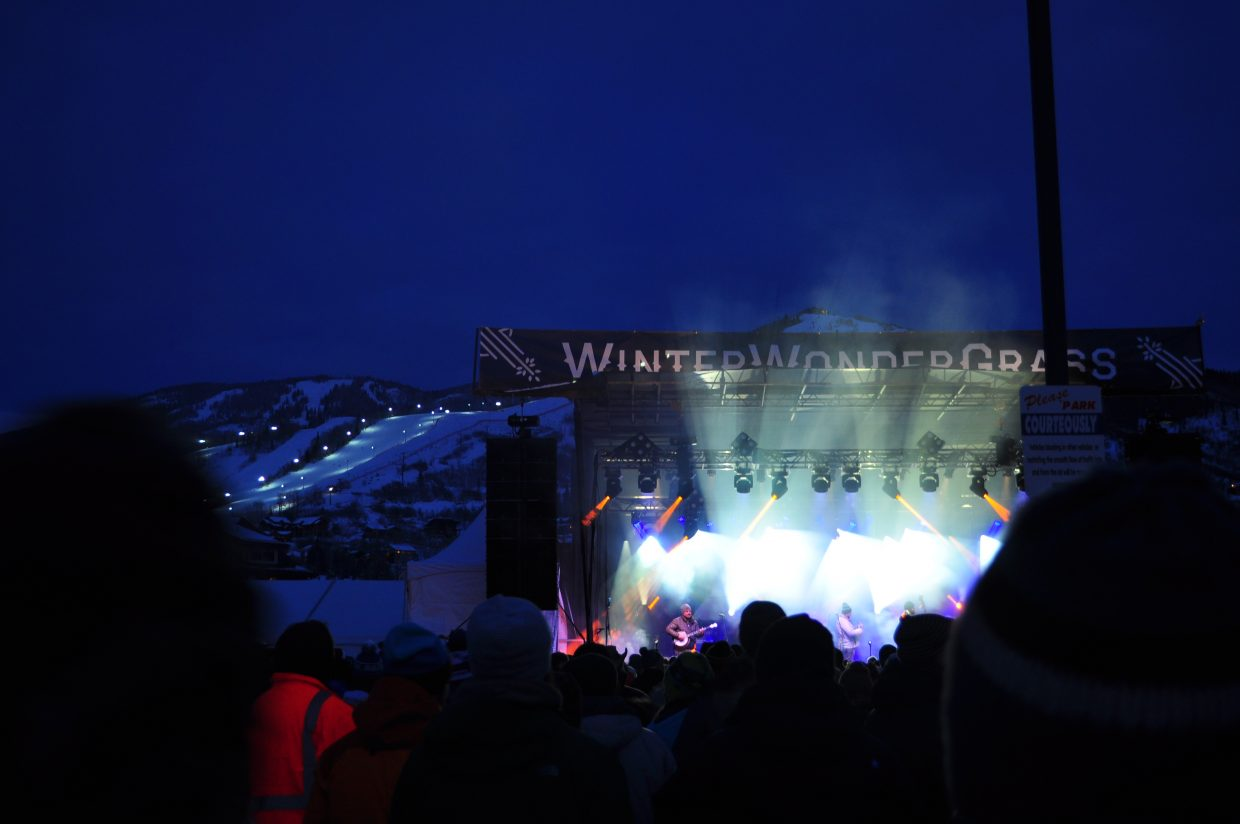 The Travelin' McCourys play the Main Stage in the Upper Knoll Lot at WinterWonderGrass in Steamboat Springs on Sunday.