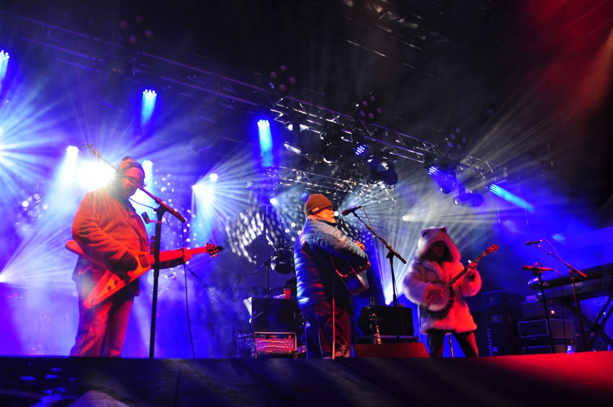 Leftover Salmon closes out WinterWonderGrass Main Stage in the Upper Knoll Lot in Steamboat Springs on Sunday.