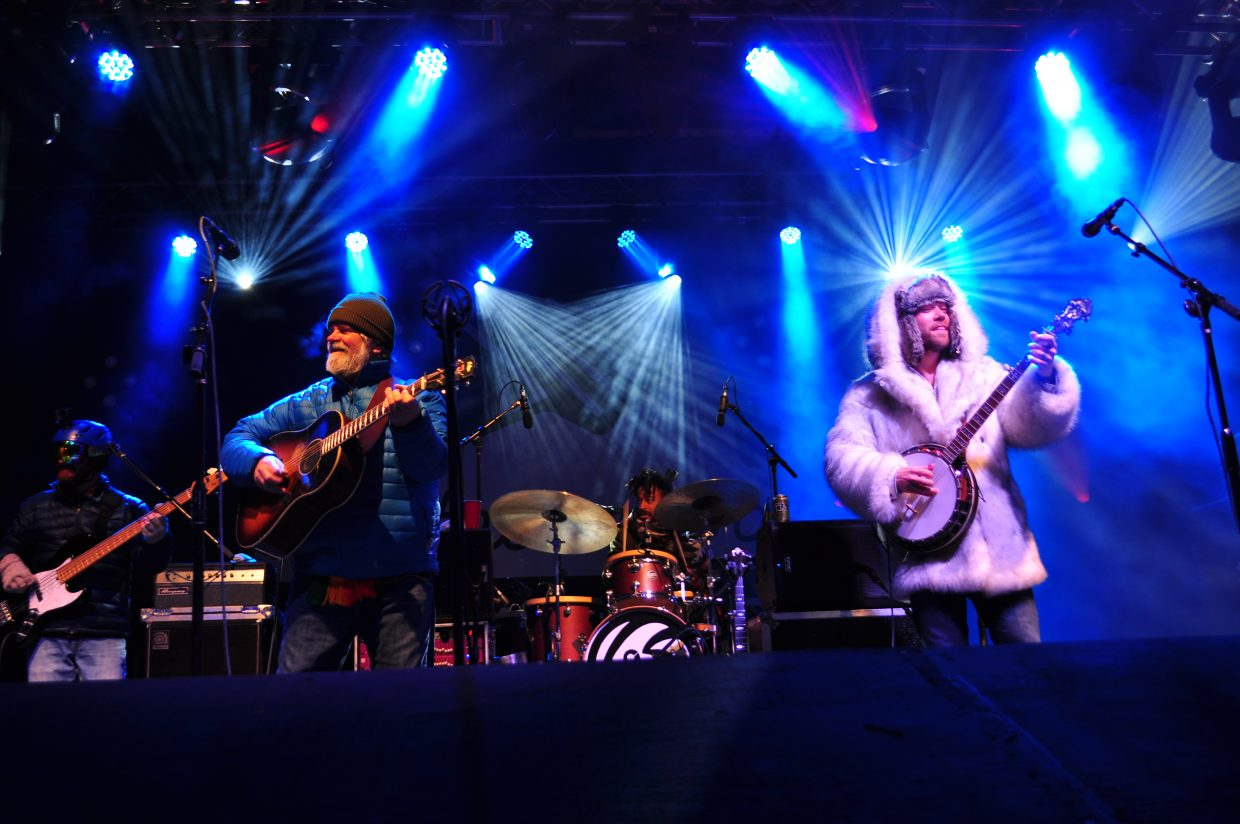 Vonce Herman, on guitar, and Andy Thorn, on banjo, play the final show on Sunday at WinterWonderGrass in Steamboat Springs.