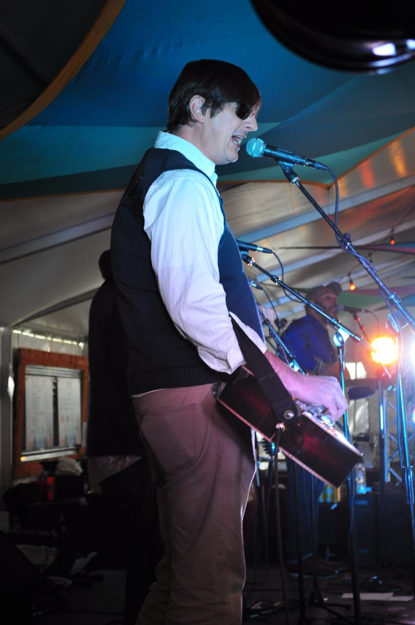 Buffalo Commons member Jonathan Huge plays at WinterWonderGrass on Friday in Steamboat Springs.