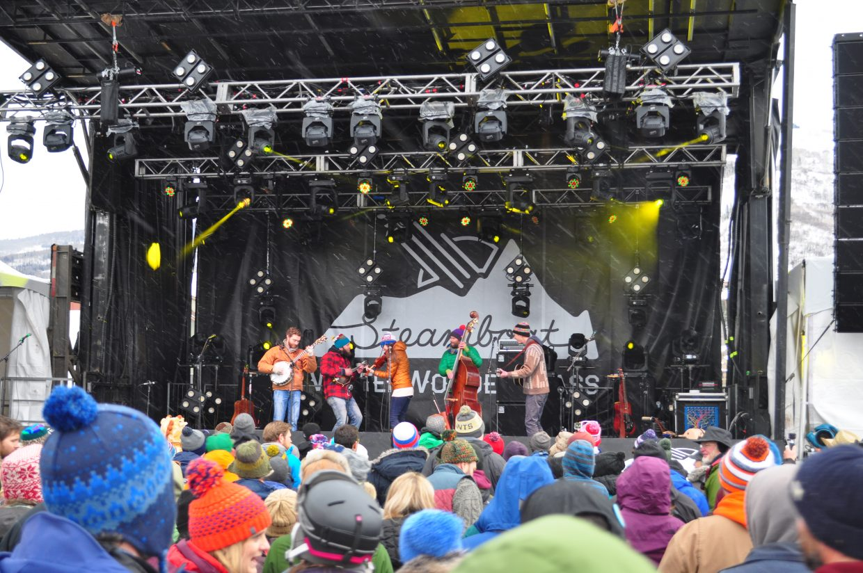 Trout Steak Revival play the Main Stage at WinterWonderGrass on Friday in Steamboat Springs.