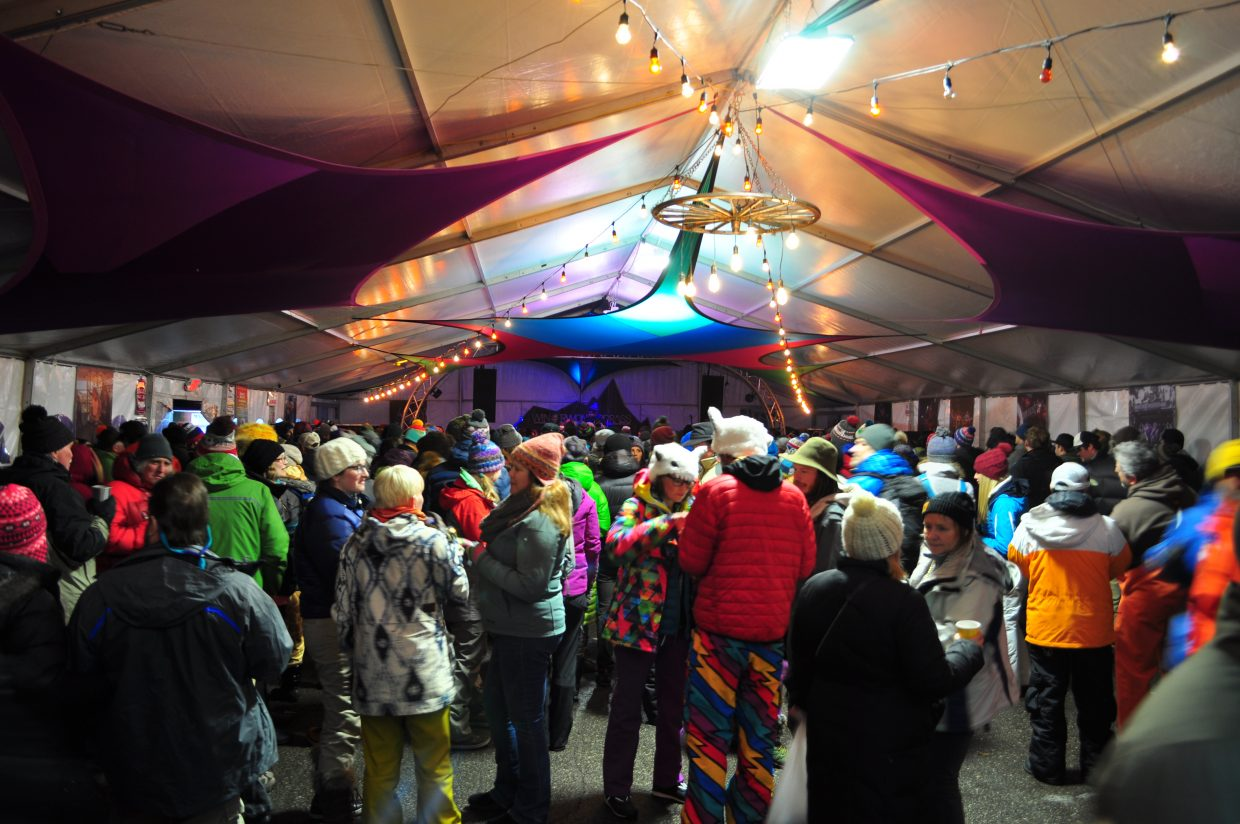 Festival attendees warm up on Friday at WinterWonderGrass in Steamboat Springs.
