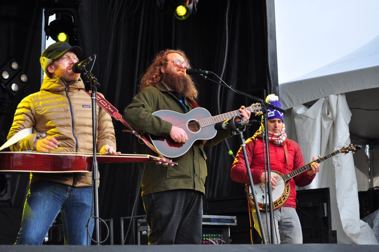 The Lil Smokies played Main Stage at WinterWonderGrass on Saturday in Steamboat Springs. From left are Andy Dunnigan, on dobro; Matt Rieger, on guitar; and Matt Cornette, on banjo.
