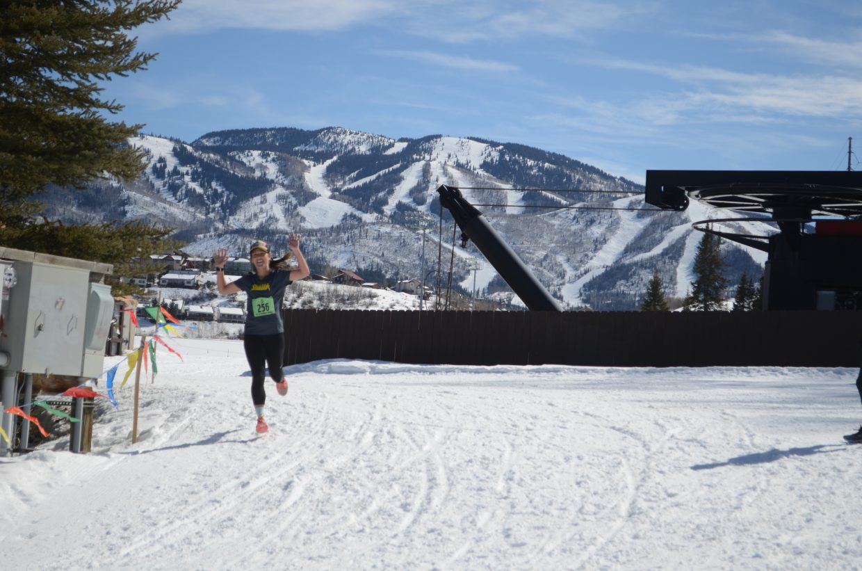 One of the Honey Stinger team members who overall had a time of 1:28:27 at Saturday's 27th annual Steamboat Penathlon.