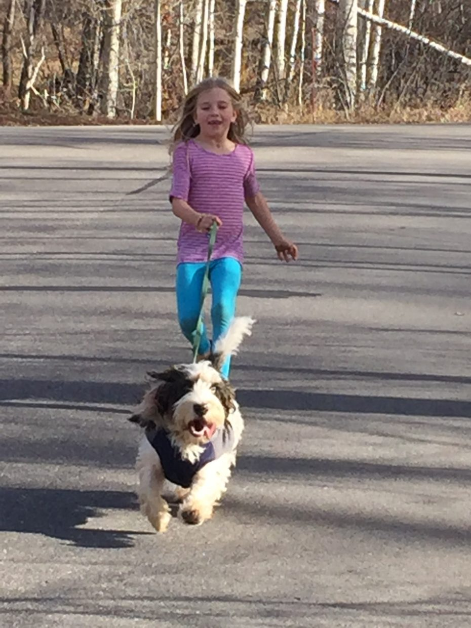 McKenna Pinegar and her dog Dexter run down the road on sunny day.