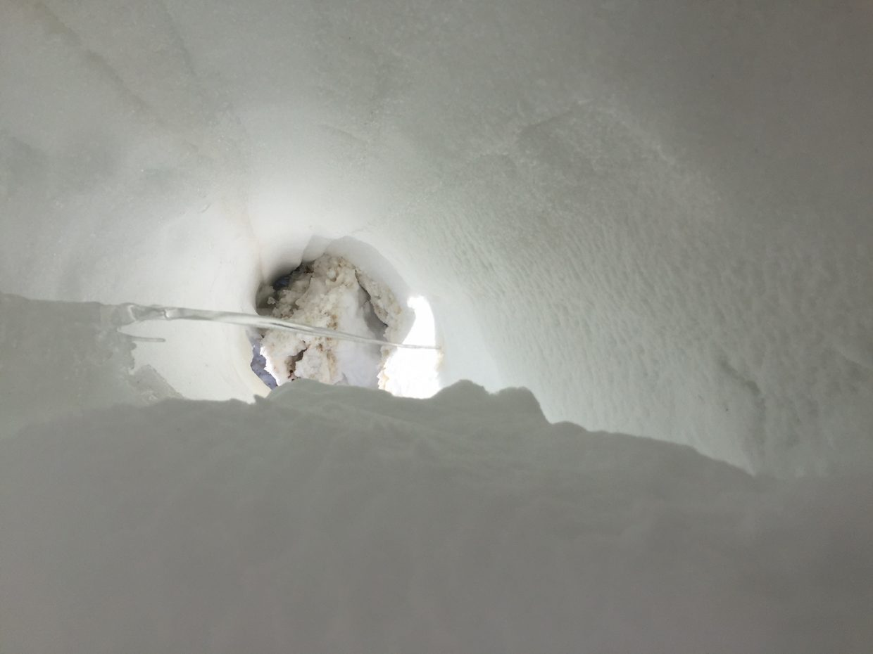 A shot of what appears to be a snow tunnel.