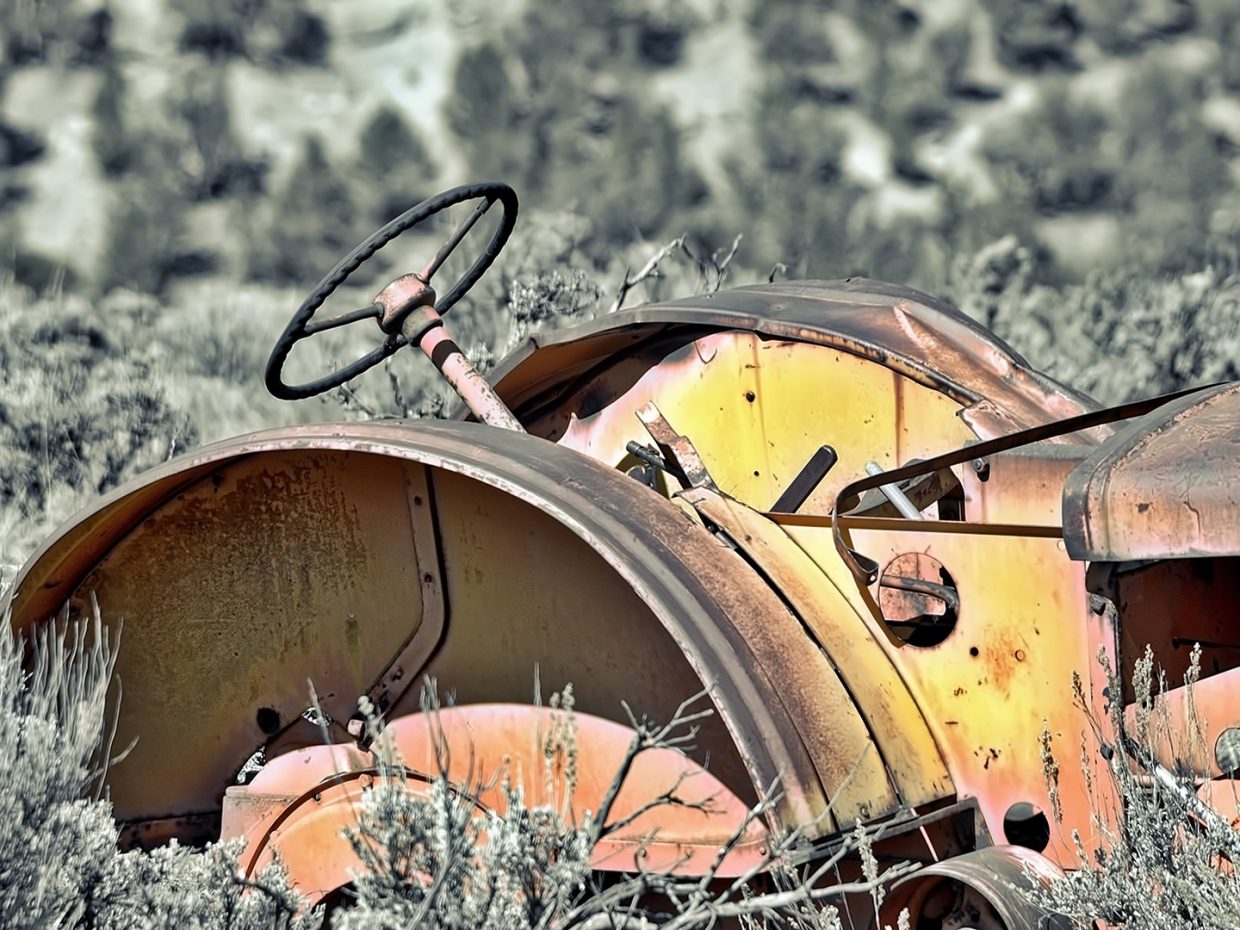 A shot of an old tractor along U.S. Highway 131.