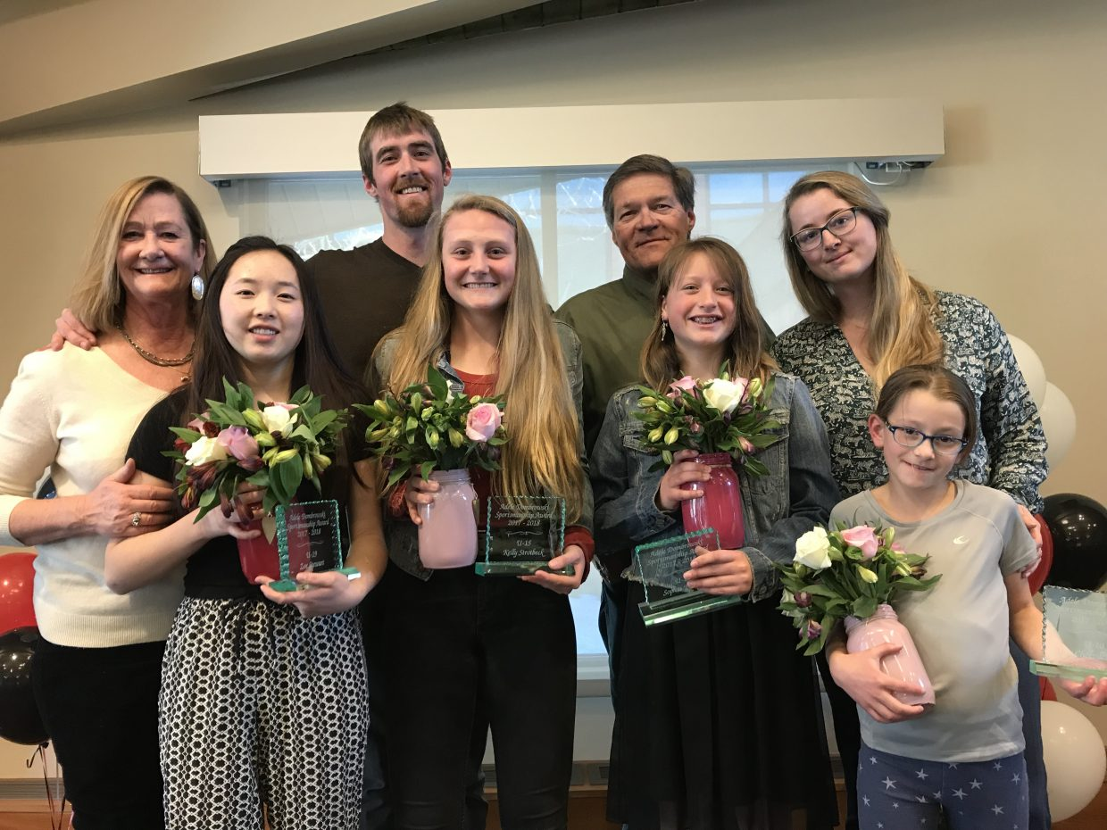 Adele Dombrowski girls hockey ceremony took place in the Library Hall at the Bud Werner Memorial Library. The award recipients this year are:  U19 – Zoe Stewart U15 – Kelly Strotbeck U12 – Sophia Picking U10- Mya Chotvacs Chase