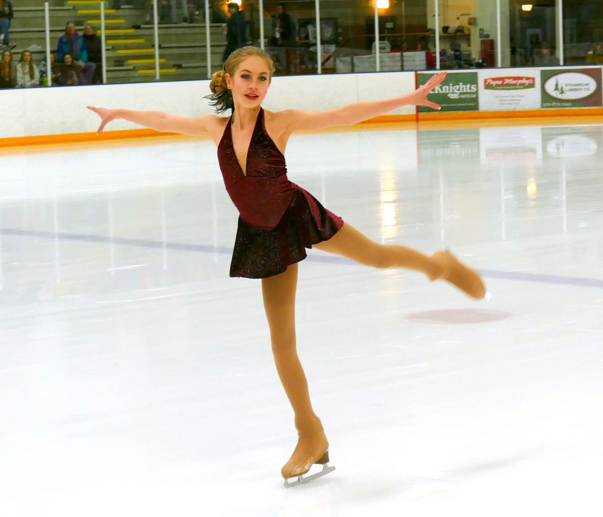Serena VanEngelenhoven performs during intermission at the Steamboat Wranglers hockey game Friday night. Serena is a member of the Steamboat Skating Club's Competition team and will be performing in the spring production of Charlie and the Chocolate Factory on Ice, March 30-31.