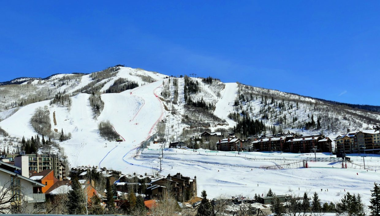 A shot of the Steamboat Ski Area from Howelsen Hill.