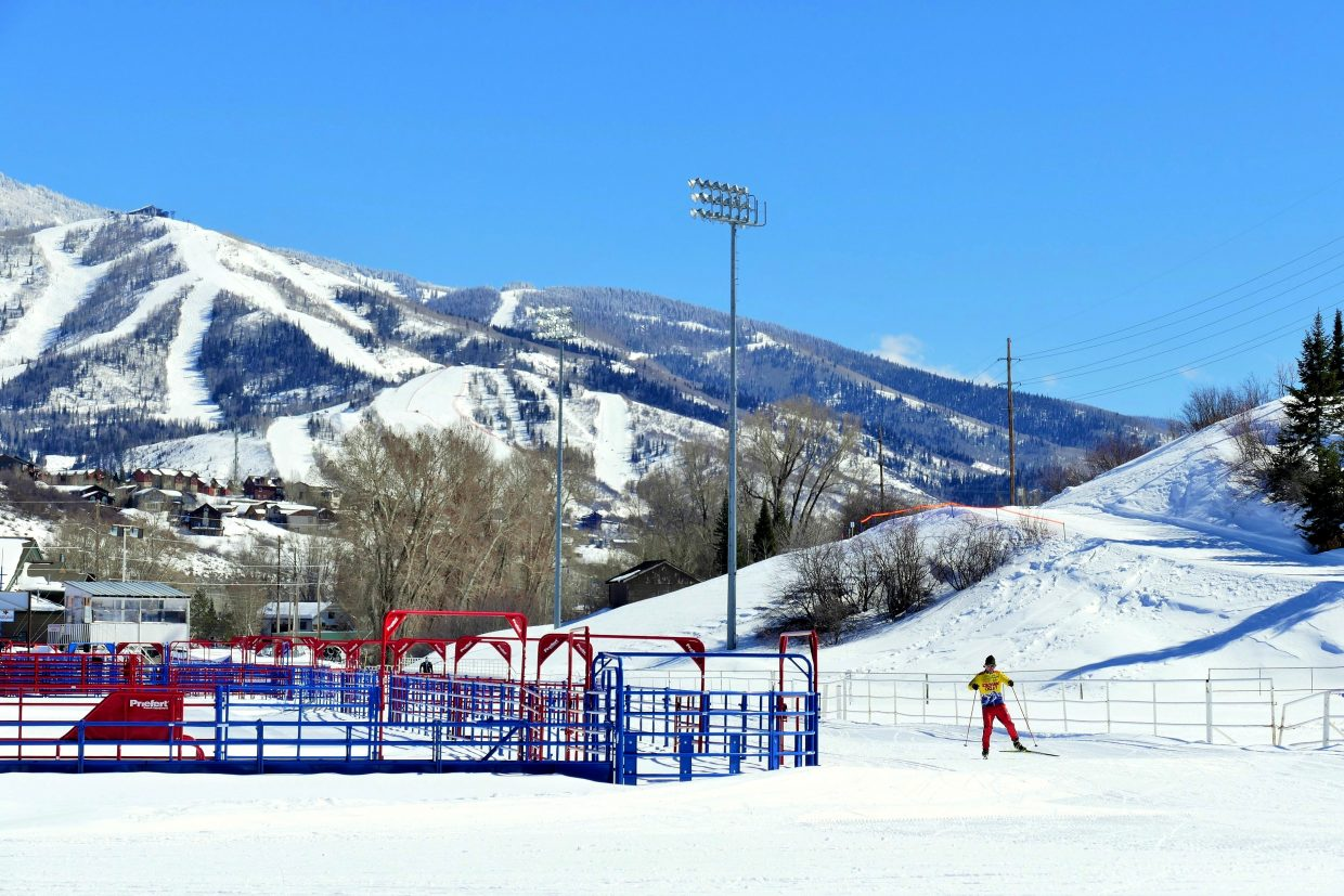 A shot of the Steamboat Ski Area from the Rodeo Grounds.