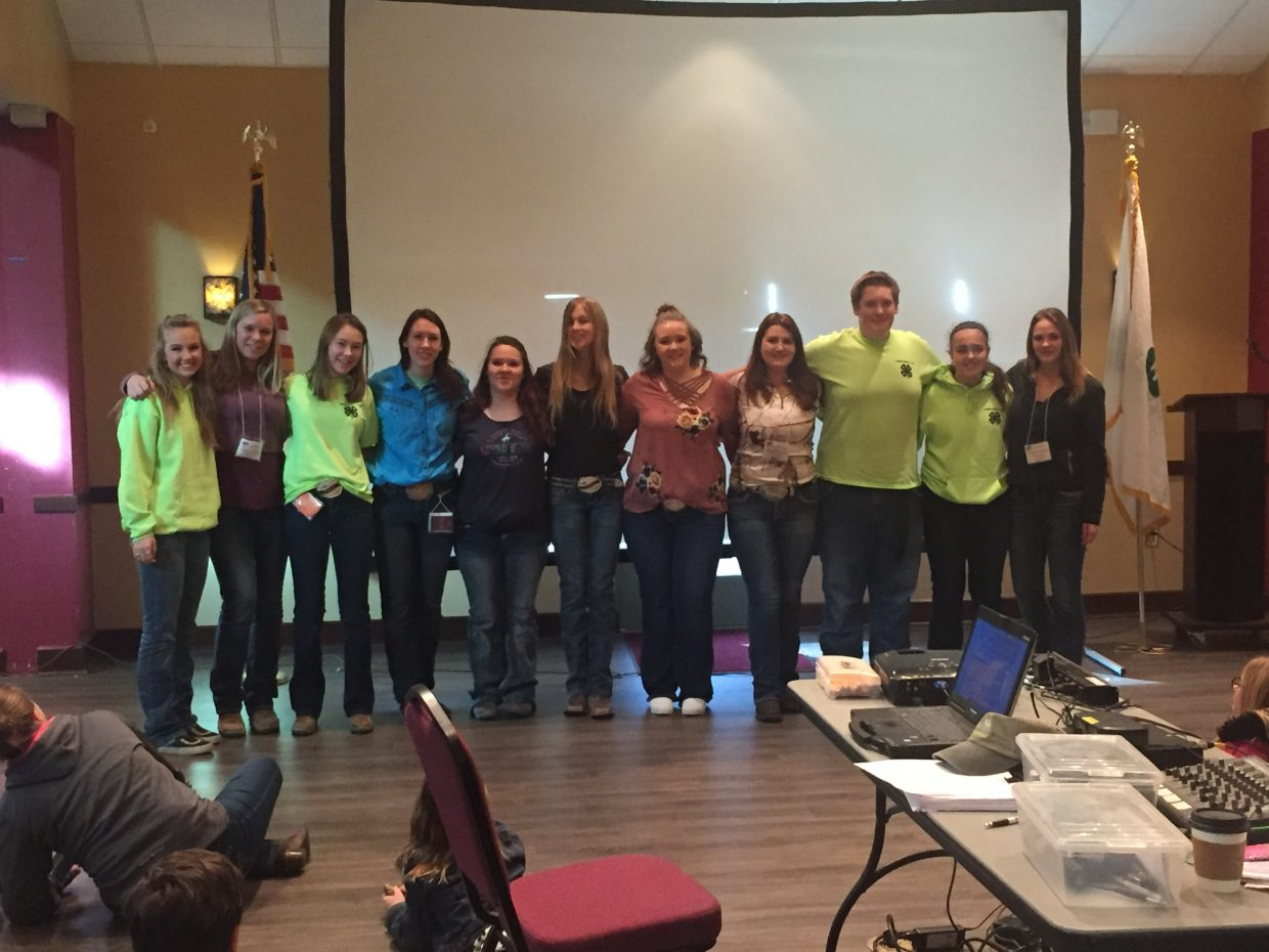 4-H Districts 11 and 12 officers. District 12 (Routt County's district) officers are Out Going President – Cosette McLaughlin (Routt), new president – Abbie Halley (Grand), VP – Shaianna Sabata (Jackson) , Secretary – Dyllan Spitzley (Routt), Treasurer – Leona Thurston (Routt), Reporter – Karyn Forbes (Routt).