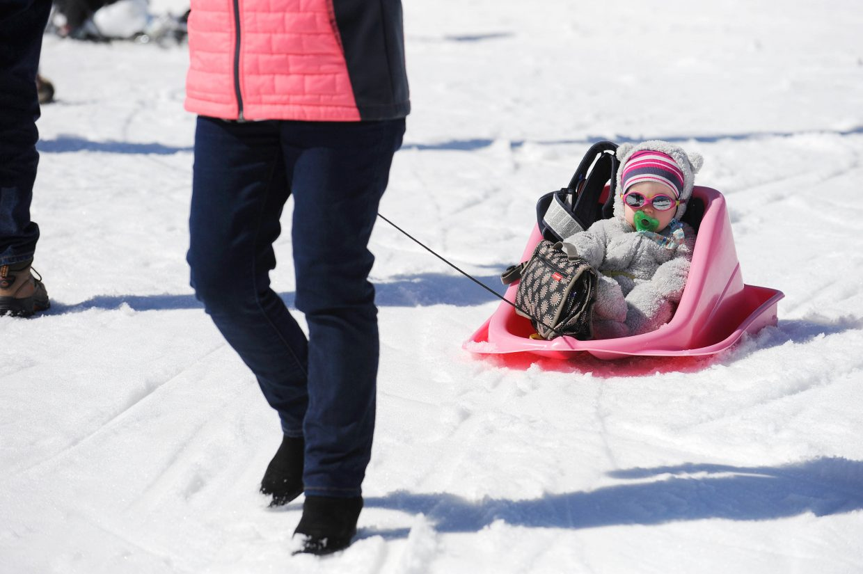 Alice Pulford is pulled around during the final Free Ski Sundays event of the season at Howelsen Hill.