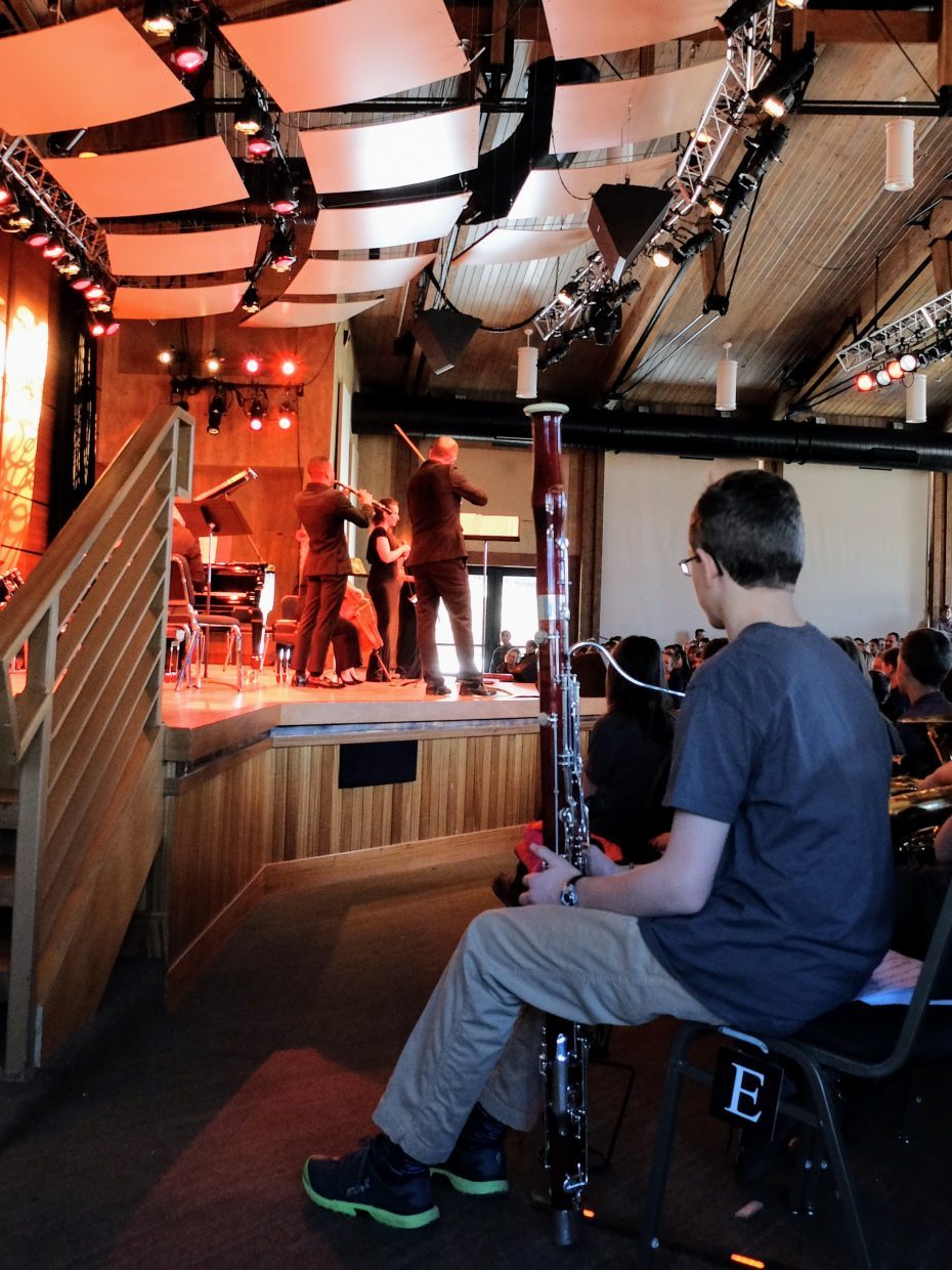 Students watch Shuffle perform during their Strings School Days field trip.