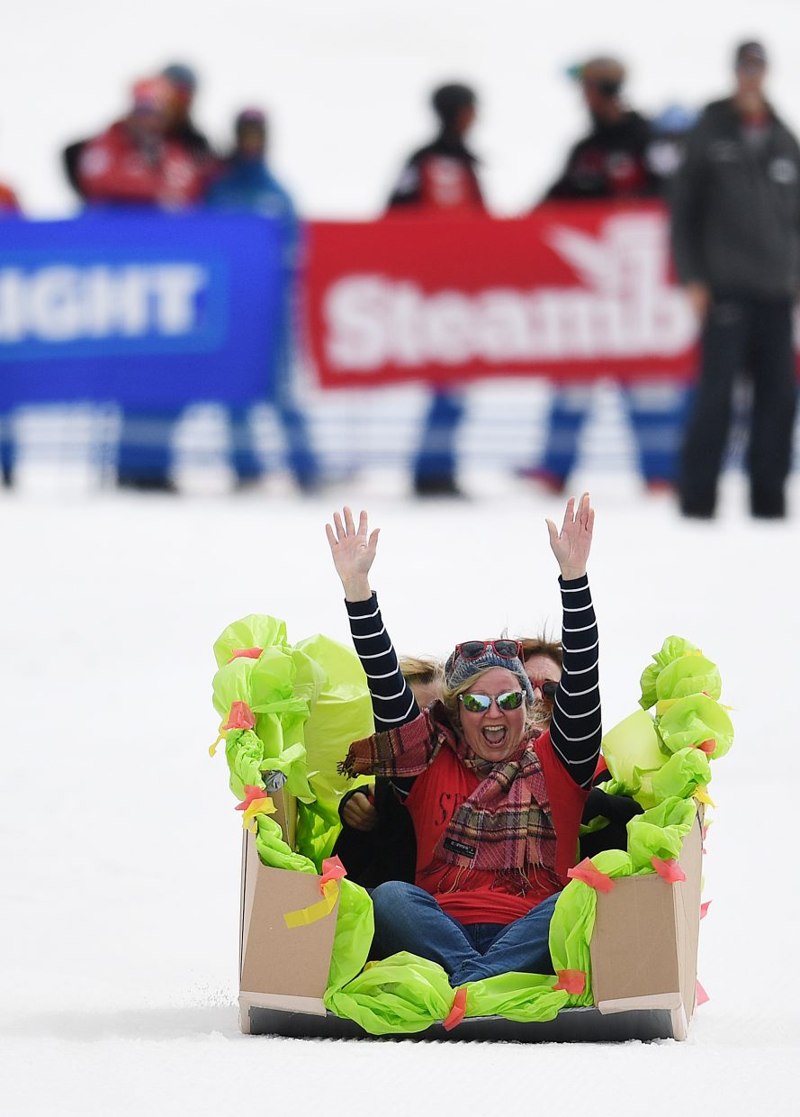 "The ""Texas Taco"" craft slides Saturday at Steamboat Ski Area."