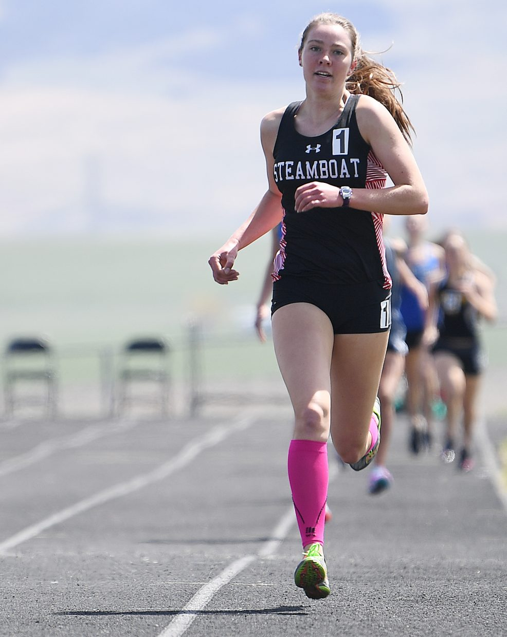 Steamboat's Winter Boese flies toward the finish line to win the girls 800-meter run Friday at Moffat County High School.