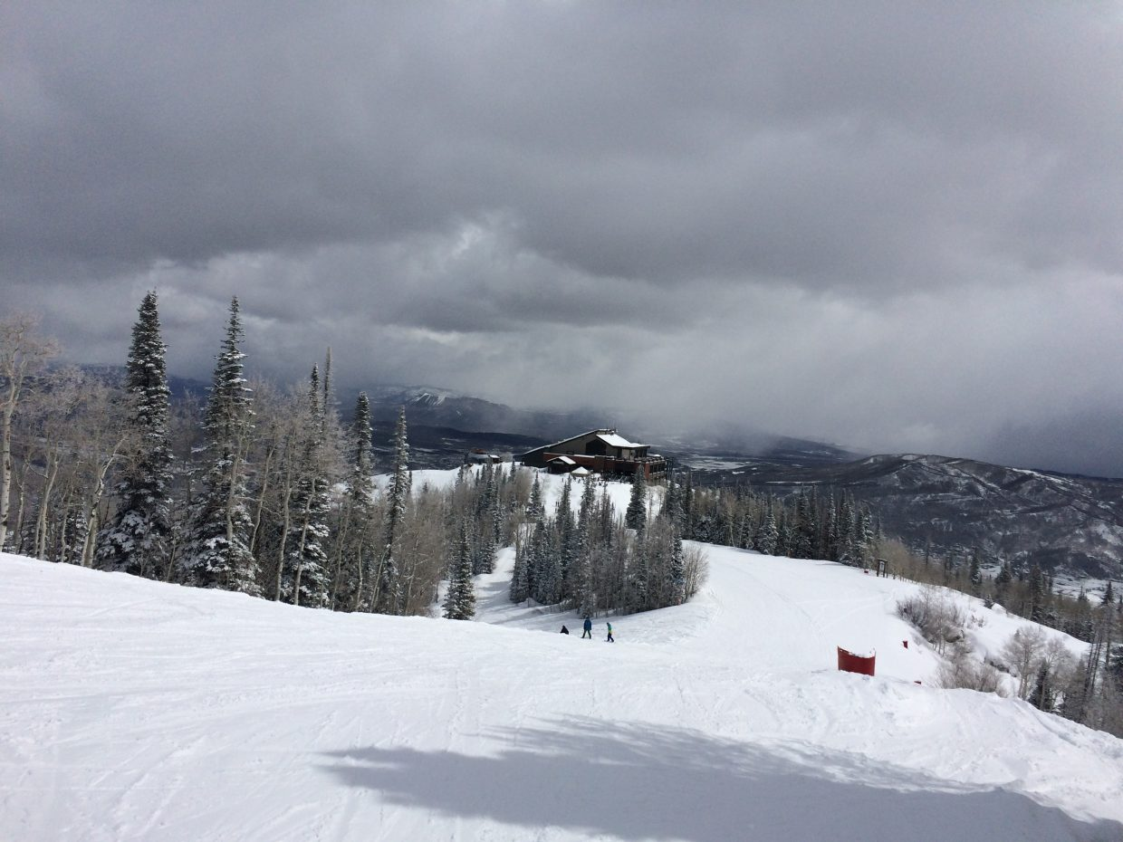 The sun peeks out on Friday at the Steamboat Ski Area above Thunderhead.
