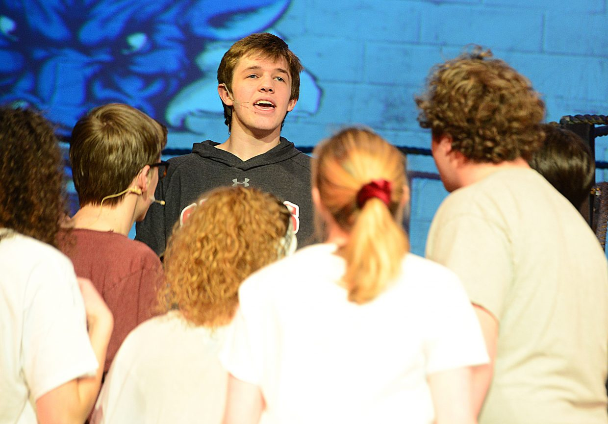 Ethan Pyles plays the part of Ren during a rehearsal for