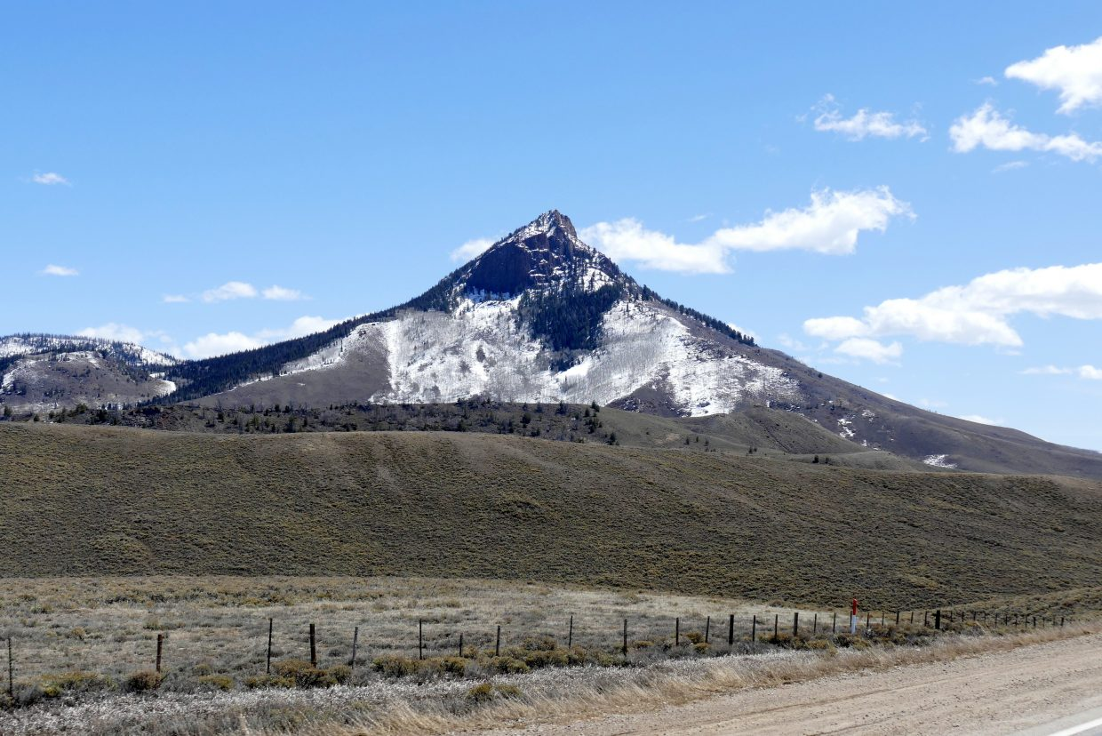 A shot of a mountain near the base of Rabbit Ears along U.S. Highway 40.