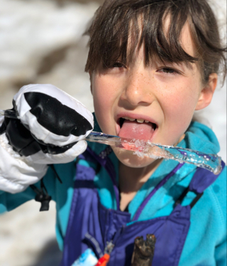 Iris Phillips enjoys an icicle.