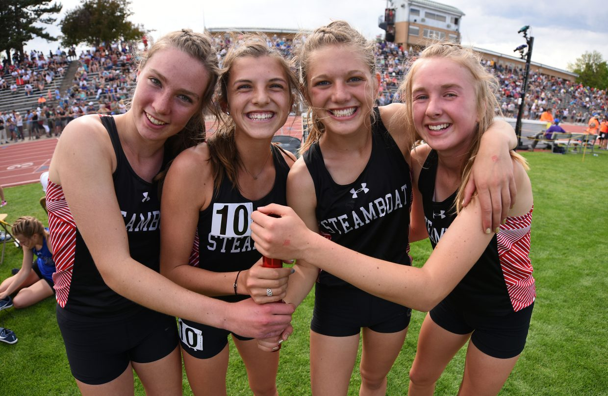 Winter Boese, left, Maggi Congdon, Isabelle Boniface and Marcada Baker pose after placing third at the state track meet in the 3,200-meter relay. They also set the school record in the process, by a whooping 17 seconds.