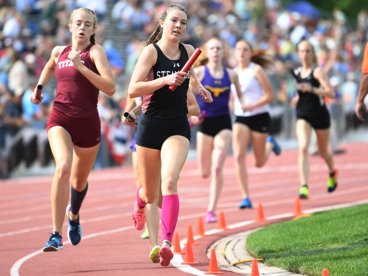Steamboat's Winter Boese runs in the first leg of the 3,200-meter relay on Thursday at the state track meet.