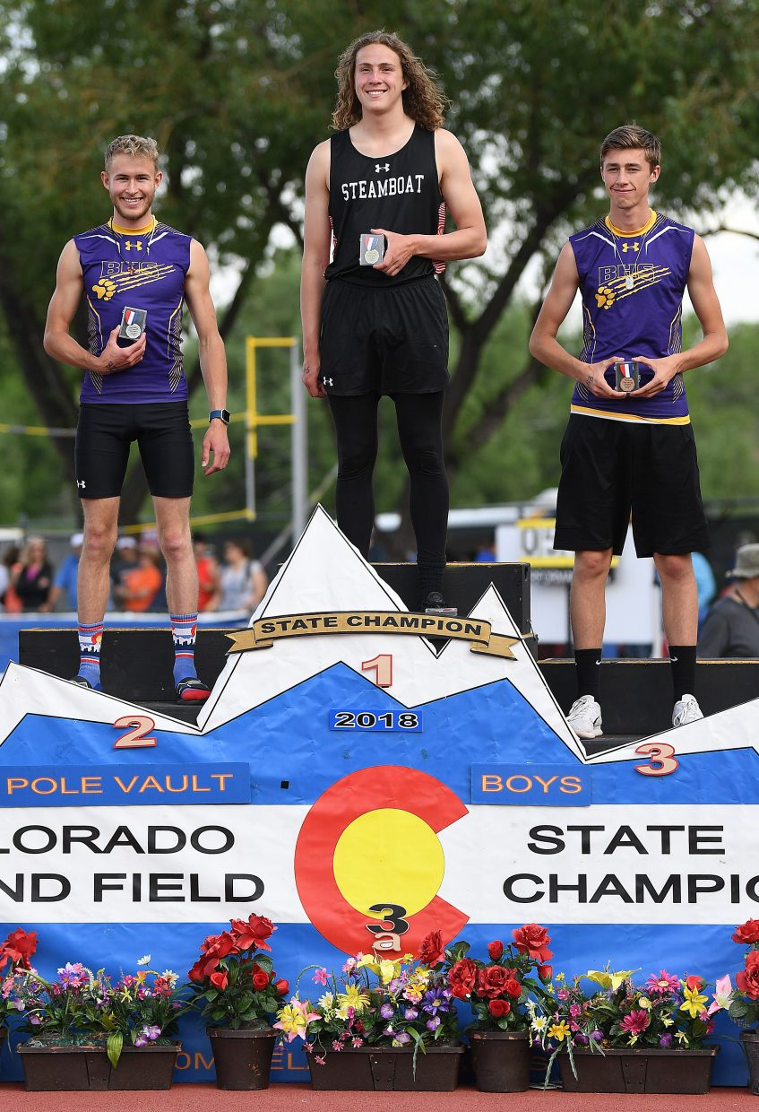 Steamboat junior Eric Casey won the Class 3A boys pole vault event at the state track meet in Lakewood.