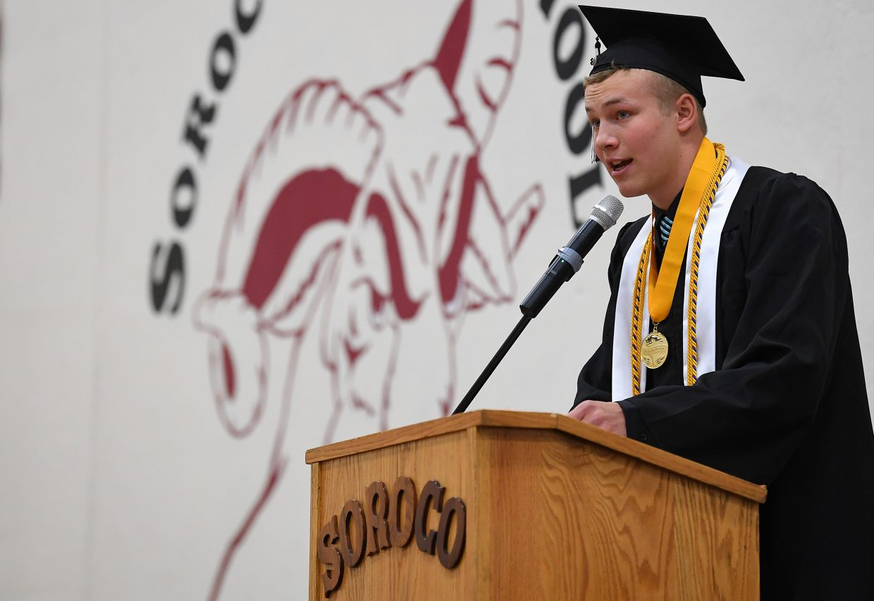 "Schuyler Carlson, co-valedictorian of the 2018 Soroco High School senior class, speaks during the graduation ceremony, urging his classmates to keep ""sending it."""