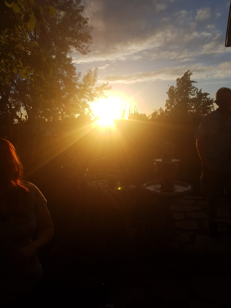 A beautiful birthday dinner with family and friends and the sun sets in West Pueblo, CO.