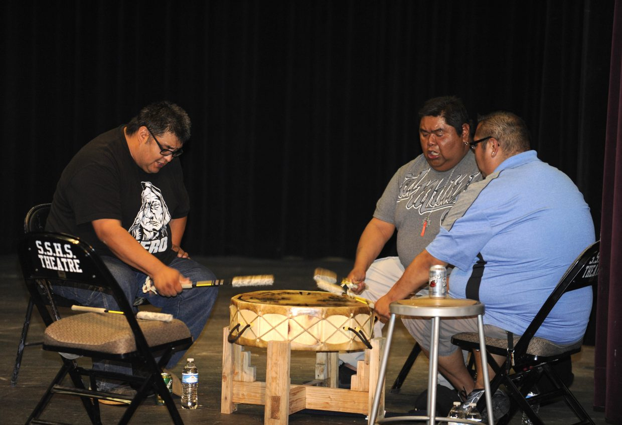 Drummers with the Youth Leadership Coalition of the Ute Indian Tribe perform Thursday at Steamboat Springs High School.