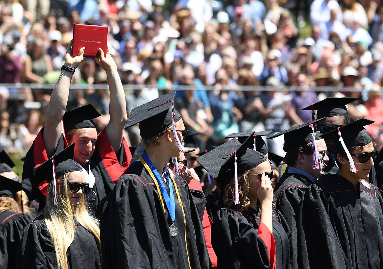 Steamboat Springs High School graduates await their chance to celebrate after Saturday's 2018 graduation ceremony.
