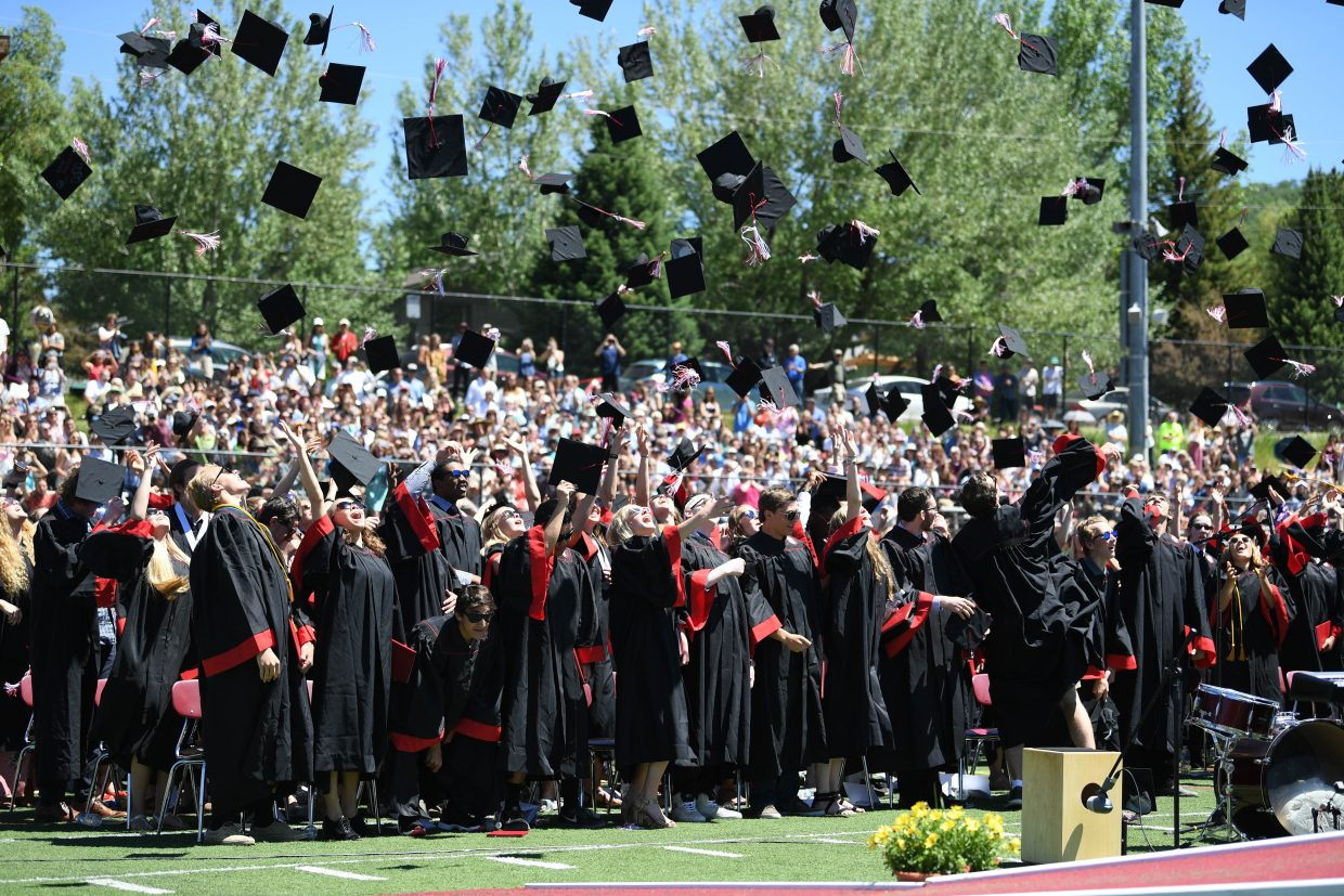The 2018 class of Steamboat Springs High School celebrates its graduation on Saturday.