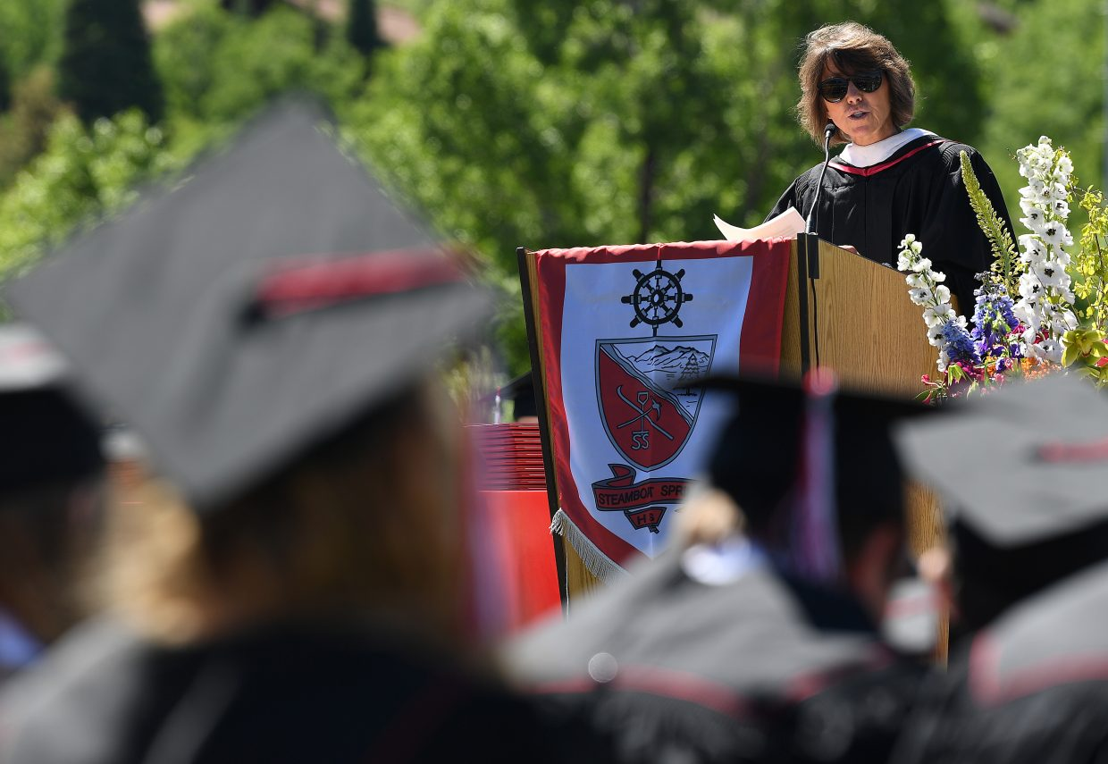 Lisa Ruff delivers the commencement address on Saturday at the 2018 graduation ceremony at Steamboat Springs High School.