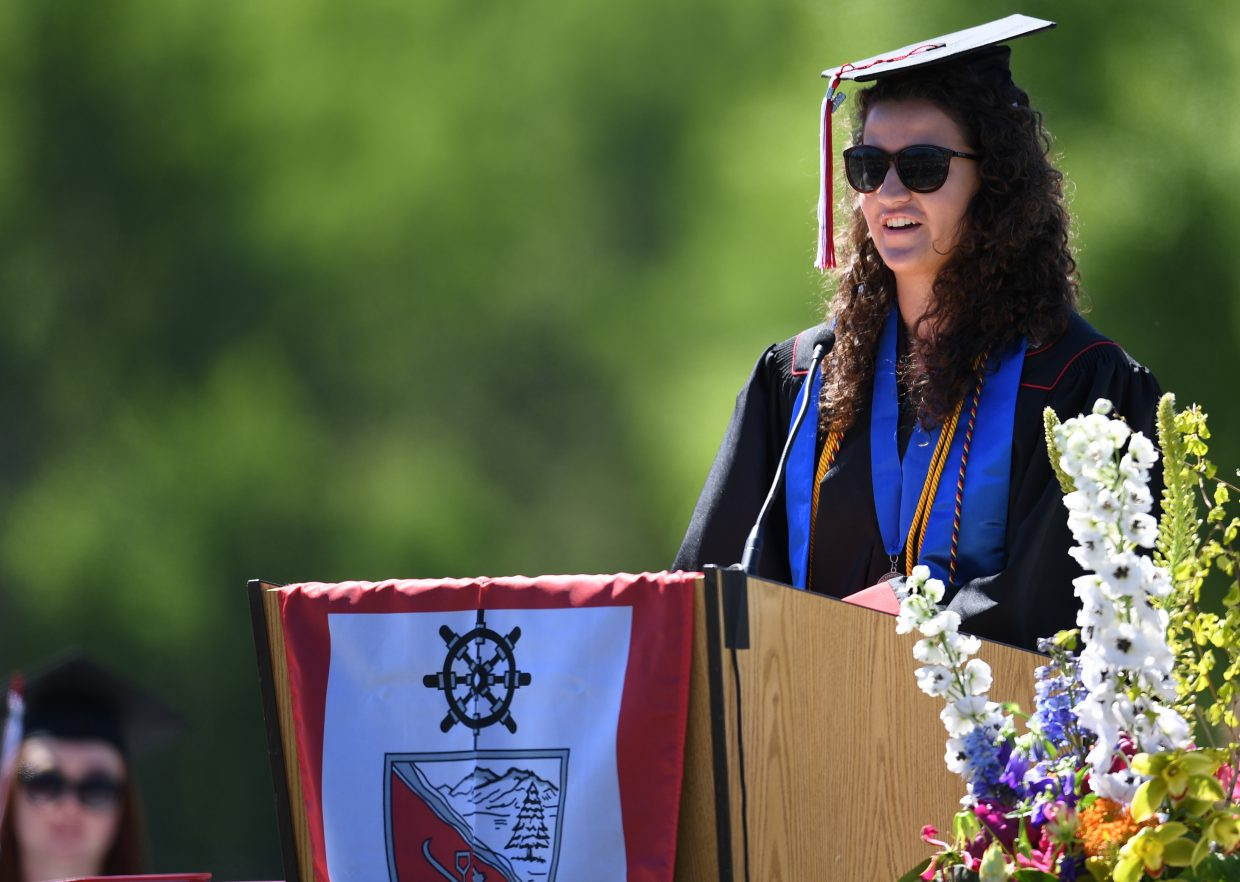 Distinguished student speaker Amanda Perlman delivers her message to her graduating class of seniors on Saturday at Steamboat Springs High School.