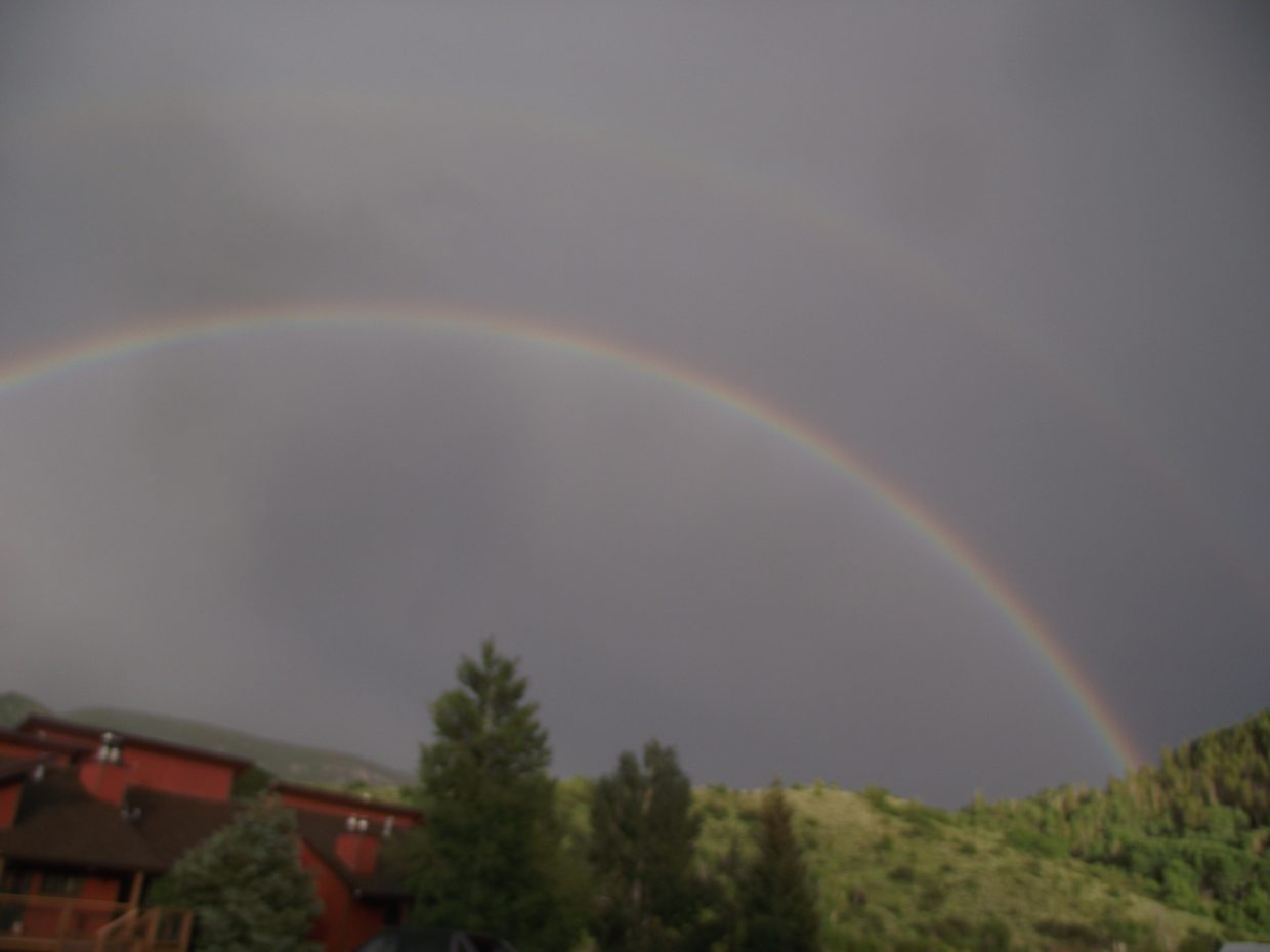 Photos of the double rainbow taken in the Stagecoach area off CR16.