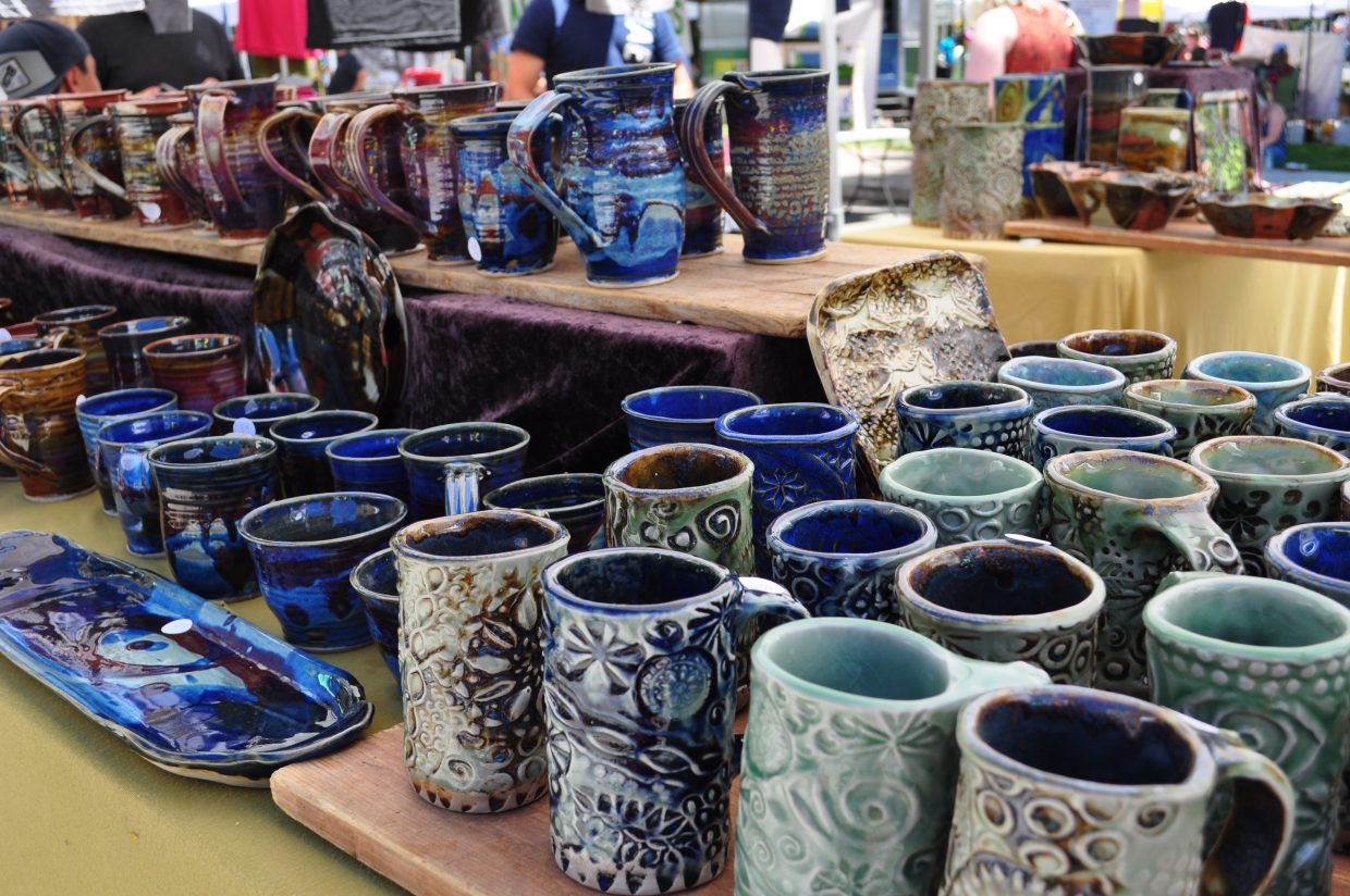 Colorful ceramic works were on display from Wandering Blues Studios at the Steamboat Farmers Market on Saturday.