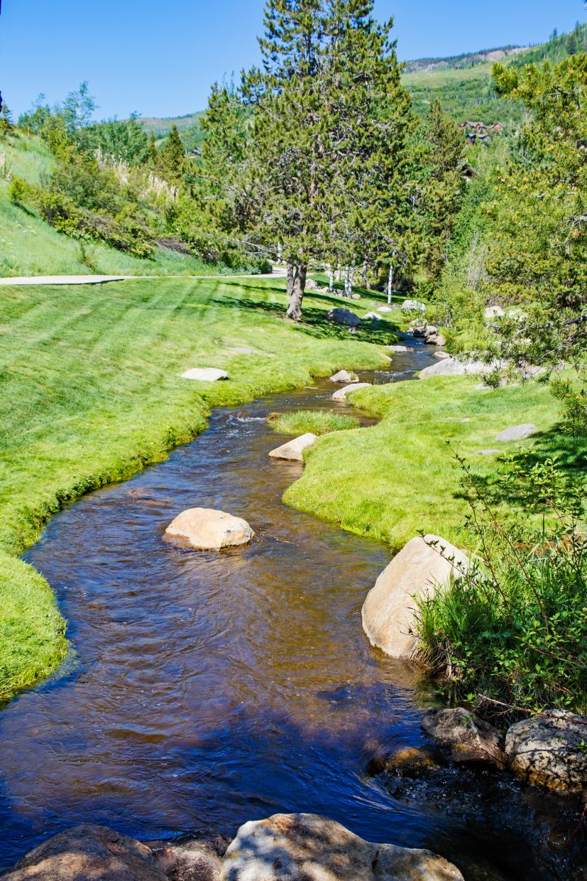 A stream meanders on down its path.