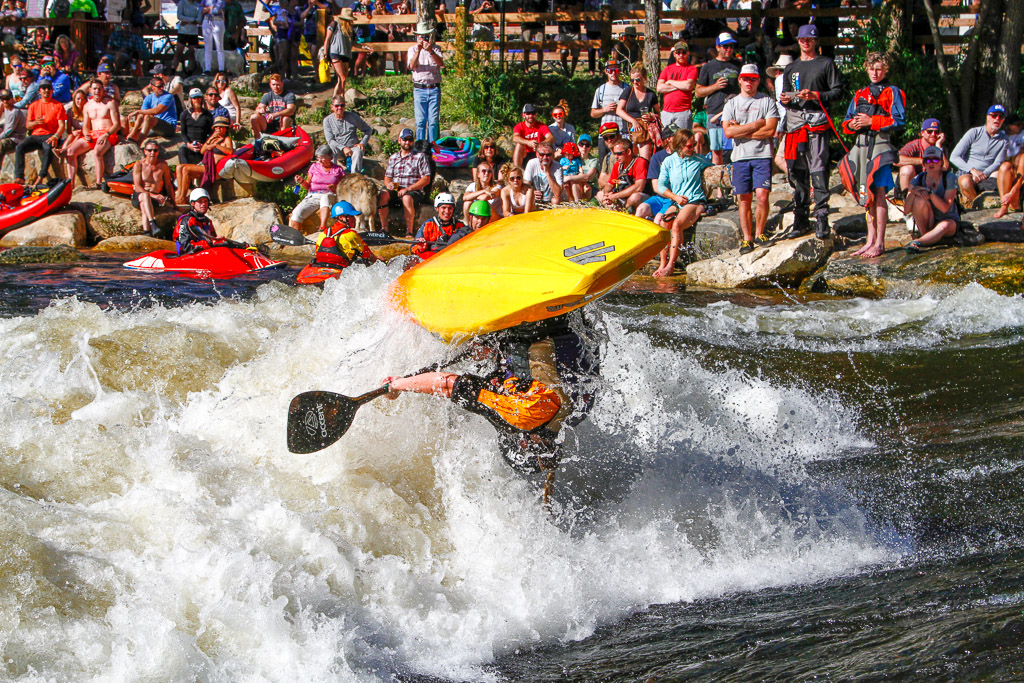 A kayaker performs a trick during the Yampa River Festival in Steamboat Springs.